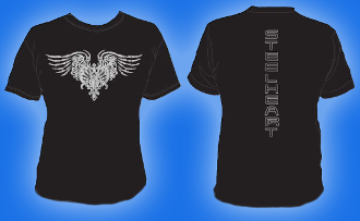 MENS STEELHEART T Shirt Silver Distressed LOGO