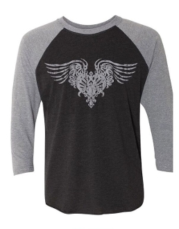UNISEX STEELHEART Silver Distressed LOGO T 3/4 SLEEVE